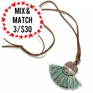 🔹️Green Tassel Necklace Faux Leather Adjustable